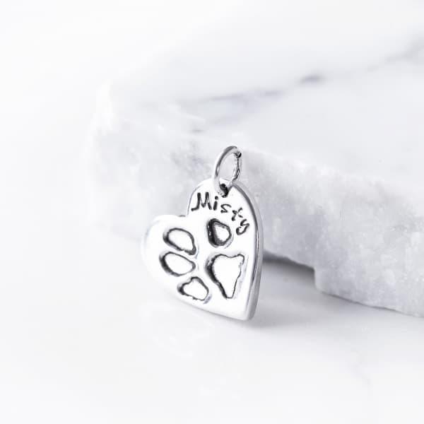 silver dog paw print charm
