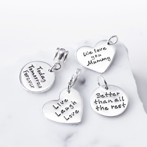 silver text charms