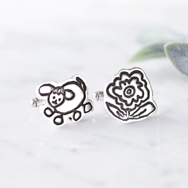 silver doodle cuff links