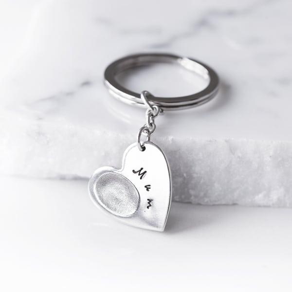 Silver fingerprint heart keyring