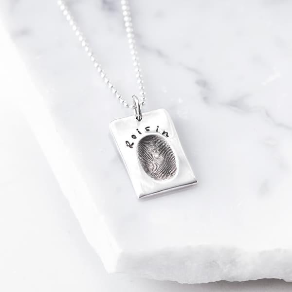 Silver fingerprint tag necklace