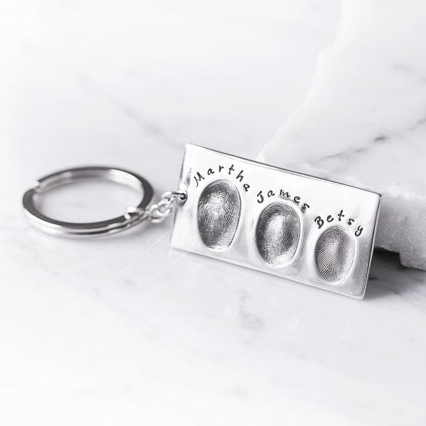 Silver fingerprint Key ring