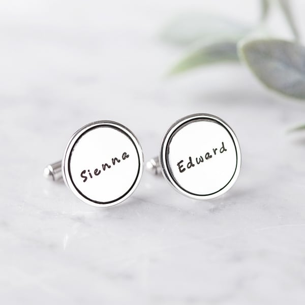Silver name cuff links