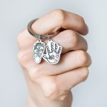 silver hands foot key ring