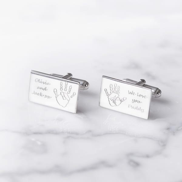 silver hand feet cuuflinks