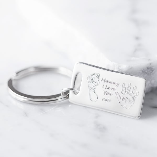 enrgaved print key ring