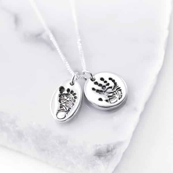 Silver Personalised Hands feet pendant