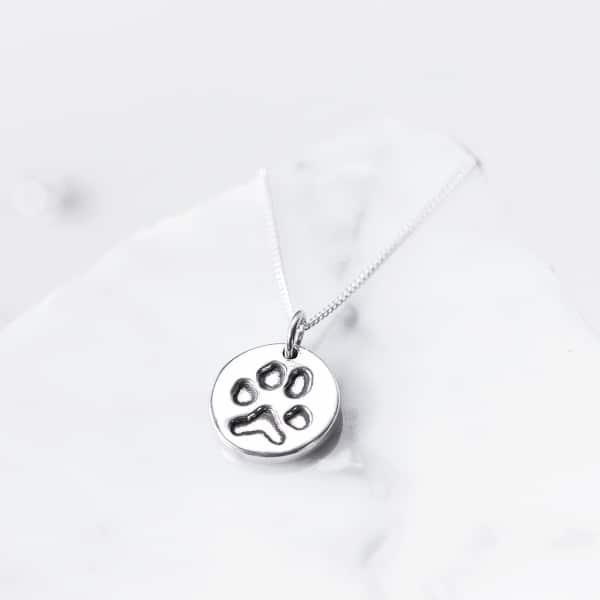 silver pet print pendant