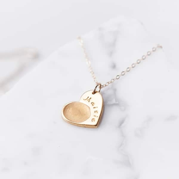 Gold fingerprint charm necklace