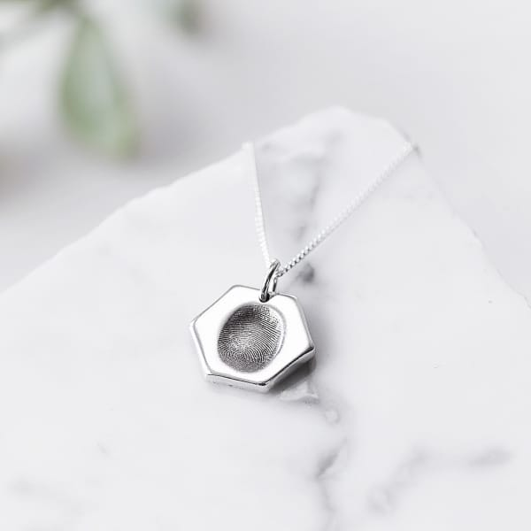 Hexagon fingerprint necklace