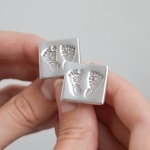Foot print silver cuff links