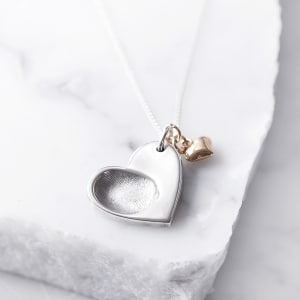 silver fingerprint gold heart