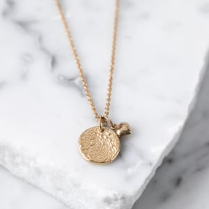 ba12dd138 Yellow Gold Fingerprint Stamp Necklace With Heart Charm £89