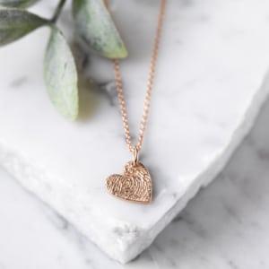 f780f4ce7 Rose Gold Engraved Fingerprint Stamp Charm Necklace £85