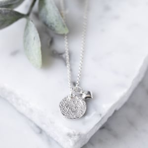 6f1150ae1 Silver Fingerprint Stamp Necklace With Heart Charm £69